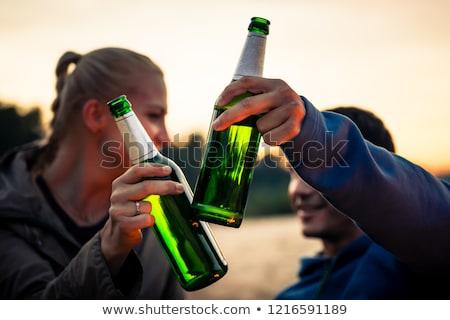 Stockfoto: Vrouw · groene · bier · glas · alcohol
