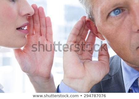 üzletember suttog munkatársak fül iroda üzlet Stock fotó © AndreyPopov