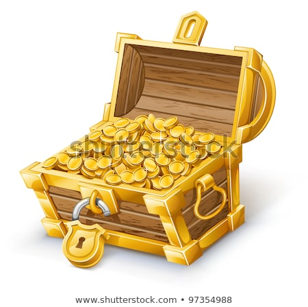 Treasure Chest With Coins Side View Color Vector Stock photo © pikepicture
