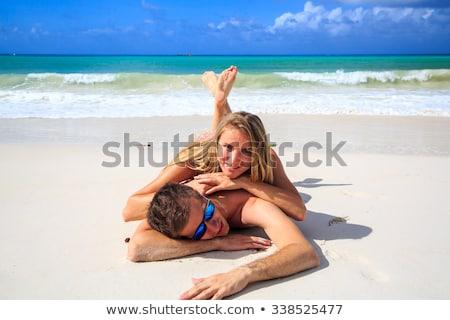 Feliz casal óculos de sol Seychelles ilha viajar Foto stock © dolgachov
