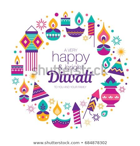 Stock photo: Happy diwali card of hindu diya flower candle