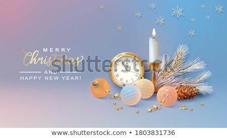 Karácsony új év réz 3D fenyőfa kártya Stock fotó © cienpies