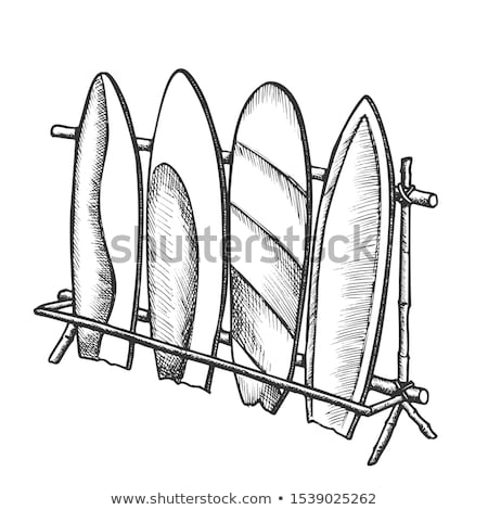 Surfboards In Different Design On Rack Ink Vector Stock photo © pikepicture