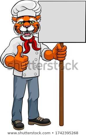 Tiger Chef Cartoon Restaurant Mascot Sign Stock photo © Krisdog