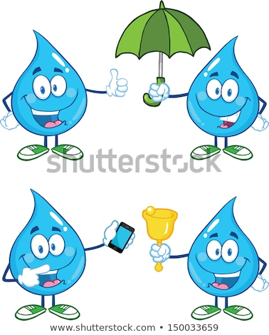 Water Drop Character Pointing To A Mobile Phone Stock photo © hittoon