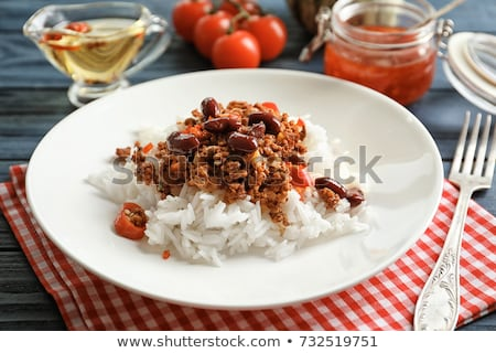 Chili con carne served with white rice Stock photo © Alex9500