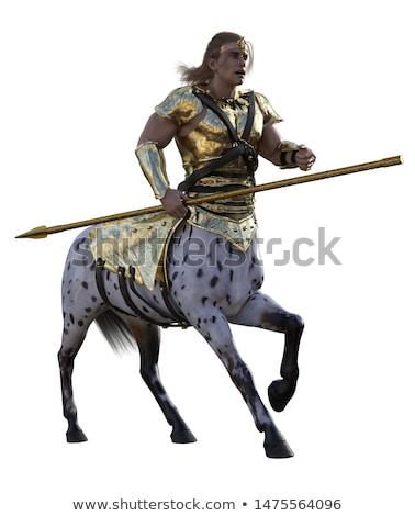文字 槍 勇敢な 男 馬 神話の ストックフォト © jossdiim