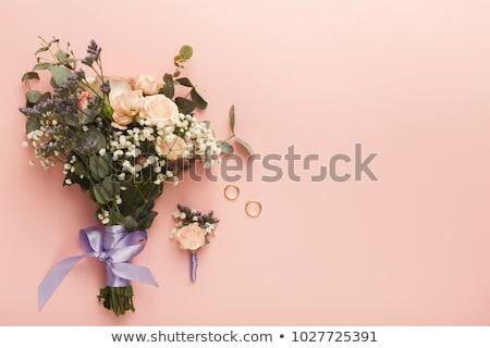 Virág jegygyűrűk esküvő kellékek tavasz rózsa Stock fotó © dariazu