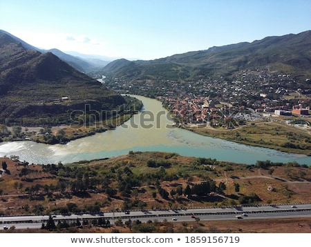 Vue Géorgie panoramique monastère colline Photo stock © borisb17