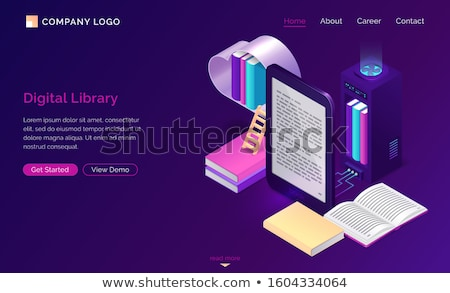 Online Library Web Landing Page, Reading Books Stock photo © robuart