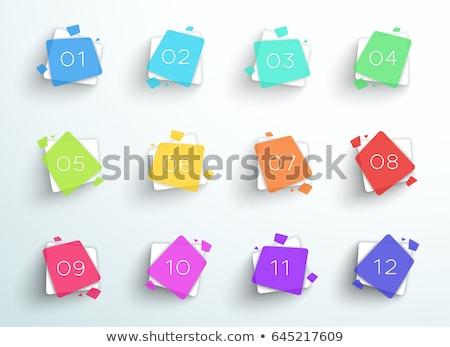 Kare iş kurşun makas sayılar ayarlamak Stok fotoğraf © SArts