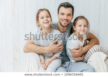 Tată copii paternitate frumos afectuos tata Imagine de stoc © vkstudio