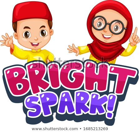 Font design for word bright spark with muslim kids Stock photo © bluering