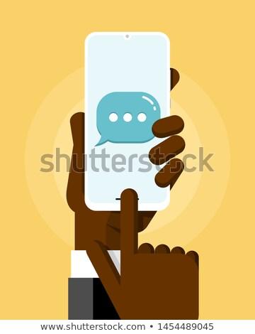 Mão humana sms mensagem enviar Foto stock © karetniy