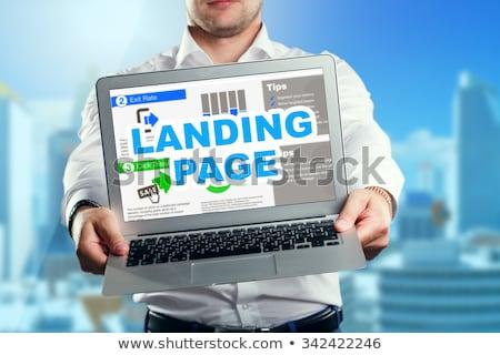 Láncszem épület leszállás oldal online kommunikáció Stock fotó © RAStudio