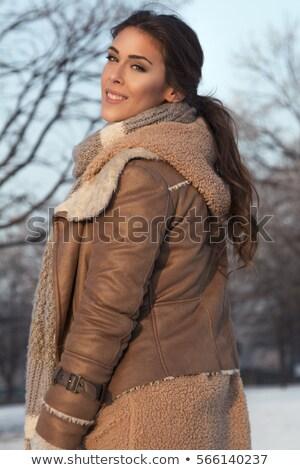 зима красный шарф долго текстуры Сток-фото © photosil