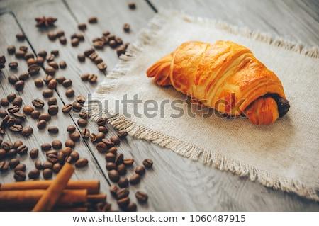 Koffie croissants houten tafel ontbijt maaltijd top Stockfoto © karandaev