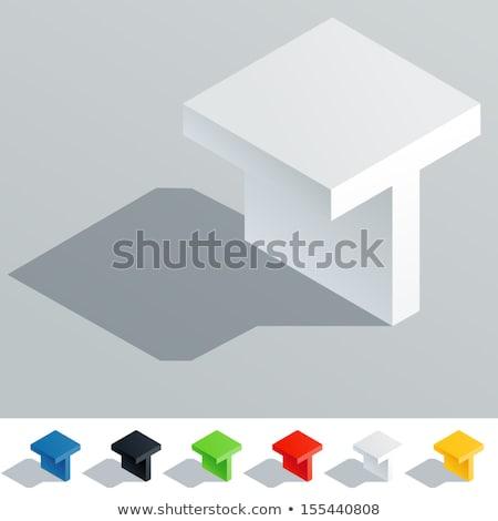 Fehér kocka pixel betűtípus t betű 3D Stock fotó © djmilic