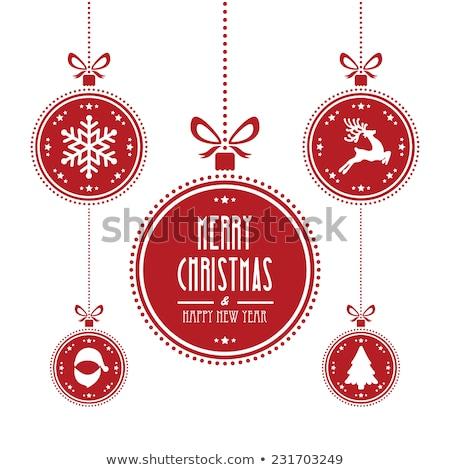 Рождества мяча красный шаблон белый Сток-фото © ElaK