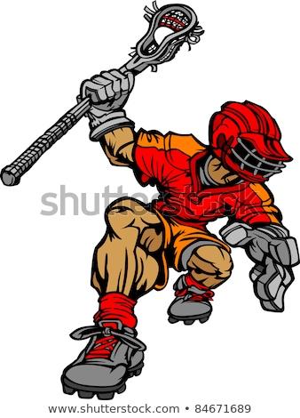 Lacrosse Player Cartoon Vector Image Stock photo © chromaco
