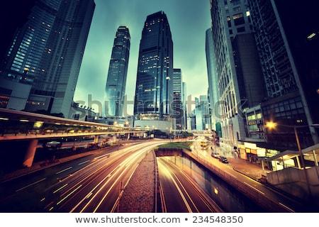 Verkeer Hong Kong nacht hemel gebouw abstract Stockfoto © kawing921