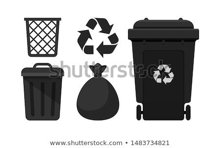 Saco preto borracha cesto de lixo lixo Foto stock © bobhackett