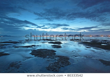 puesta · de · sol · Hong · Kong · costa · anochecer · cielo · agua - foto stock © kawing921