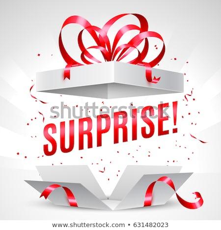 Karácsony illusztráció ajándék doboz piros fényes üveg Stock fotó © articular