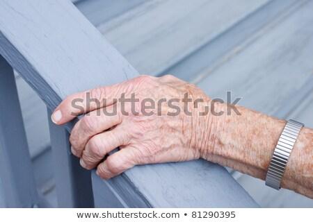 старший Lady лестница улыбаясь дома древесины Сток-фото © Melpomene