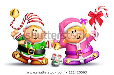 Whimsical Boy and Girl Elves Holding Hands Stock photo © komodoempire