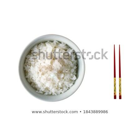 chinês · branco · arroz · colher · de · chá · madeira · chá - foto stock © ozaiachin