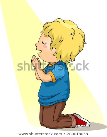 Menino oração pequeno olhos criança janela Foto stock © meshaq2000