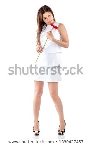 mulher · belo · vermelho · dedo · sessão - foto stock © nobilior