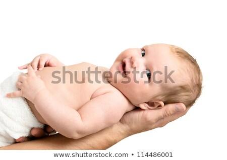 Kicsi kislány óvatosan kezek izolált fehér Stock fotó © ashumskiy