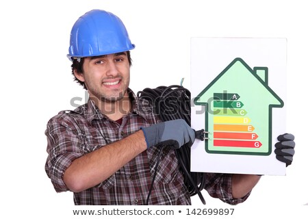 Stock photo: Entrepreneur showing energy consumption chart,