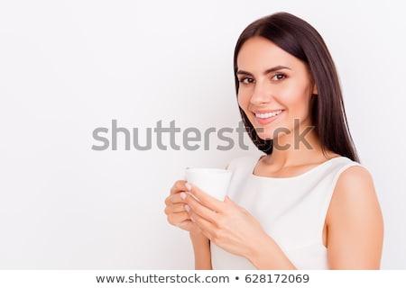 Stockfoto: Zakenvrouw · drinken · beker · thee · kantoor