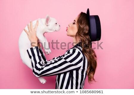 Model şapka high fashion çizgili Stok fotoğraf © tobkatrina