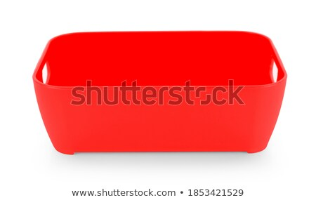 Red plastic closed bowl on white background Stock photo © shutswis