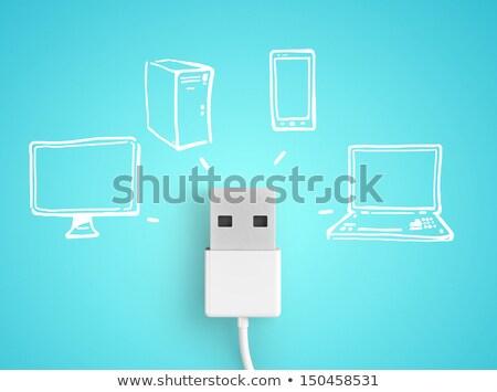Usb conexão isolado branco computador Foto stock © MojoJojoFoto