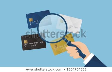 Hitelkártya nagyító üzlet gazdaság kredit vektor Stock fotó © zzve