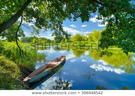 landscape with boat on the flood waters of narew river stock photo © bogumil