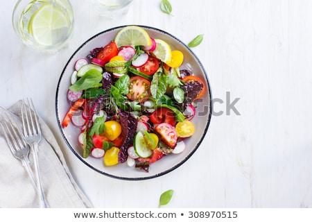 friss · nyár · saláta · étel · olajbogyó · szakács - stock fotó © M-studio