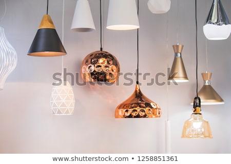 Kroonluchter silhouet luxe kolom lege witte achtergrond Stockfoto © zzve
