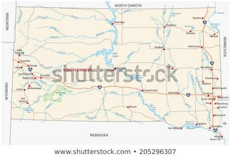 Dél-Dakota · térkép · USA · piros · szín · utazás - stock fotó © rbiedermann