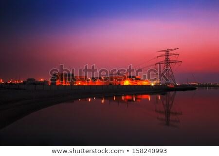 eletricidade · pôr · do · sol · laranja · céu · ambiental · dano - foto stock © sophiejames