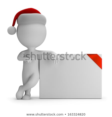 3d small people   santa and empty board stock photo © anatolym