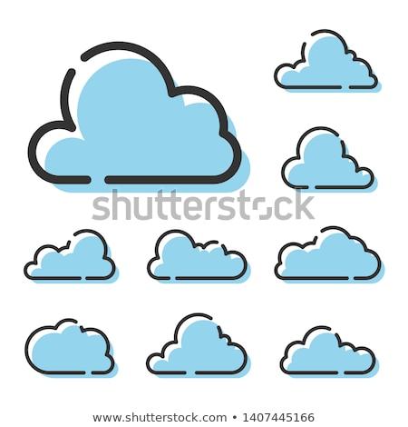 Bulut gökyüzü palmiye ağaçları bulutlar yeşil mavi Stok fotoğraf © emattil