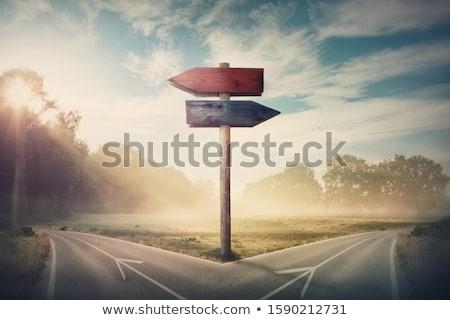 Piros útkereszteződés útjelző tábla vektor felirat jövő Stock fotó © burakowski