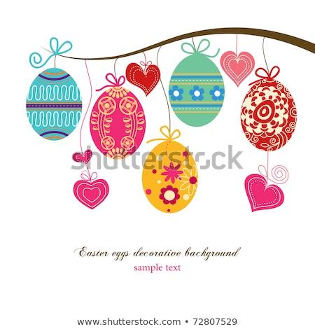 művészet · húsvét · fű · húsvéti · tojások · fa · boldog - stock fotó © wad
