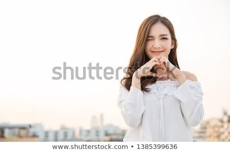 Asiático menina belo jovem apertado vermelho Foto stock © disorderly